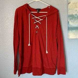 Red Lace Up Hoodie